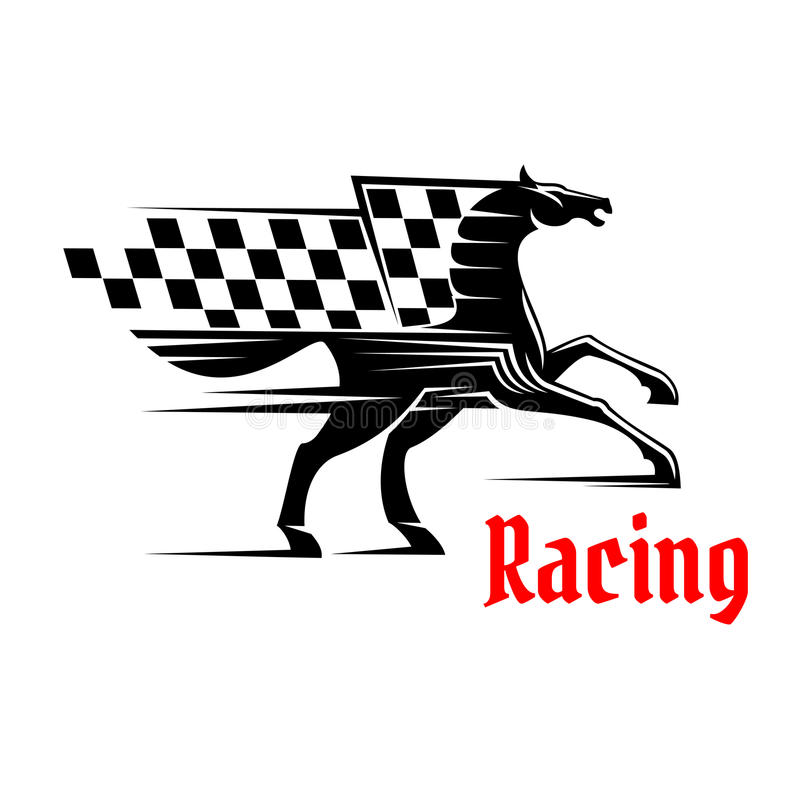 Horse race icon with racing checkered flag stock illustration