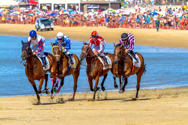Horse race on Sanlucar of Barrameda, Spain, 2016 royalty free stock photo