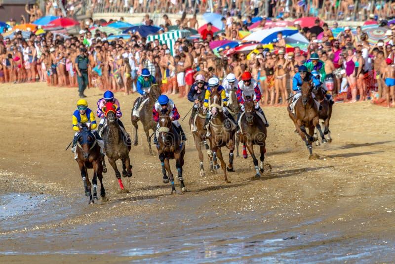 Horse race on Sanlucar of Barrameda, Spain, 2016 stock photo