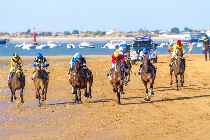 Horse race on Sanlucar of Barrameda, Spain stock photo