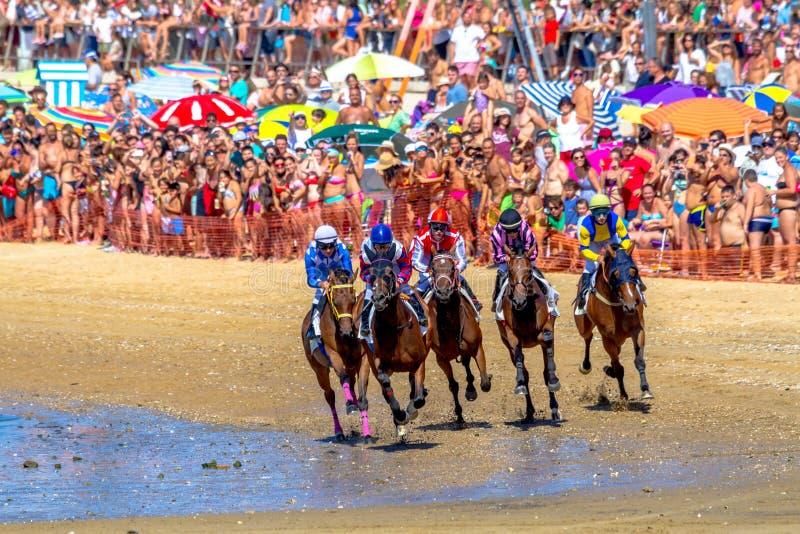 Horse race on Sanlucar of Barrameda, Spain, 2016 stock photos