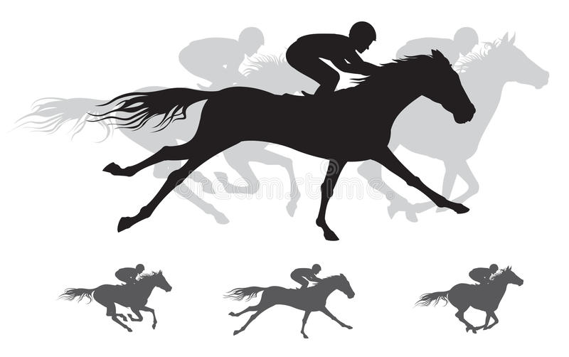 Horse race Silhouette, gallop vector illustration