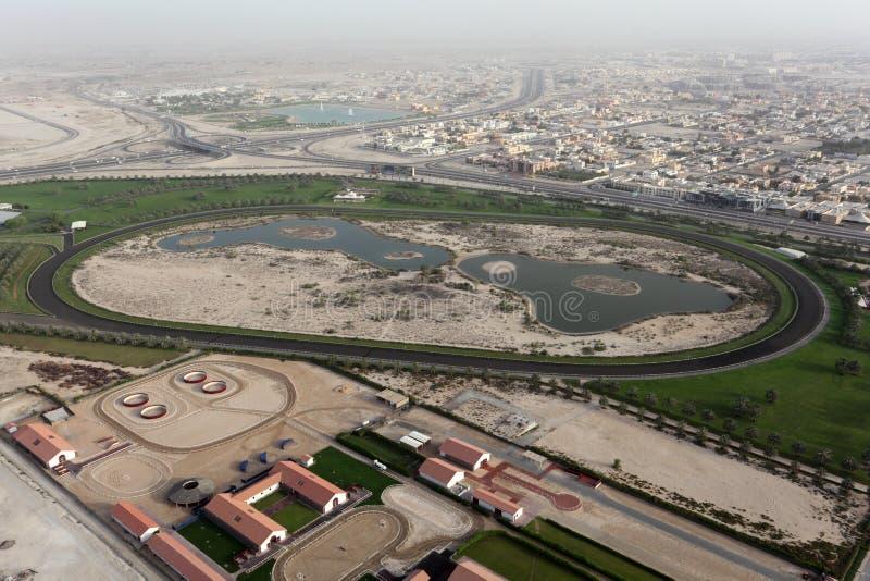 Horse Race Track in Dubai stock photography