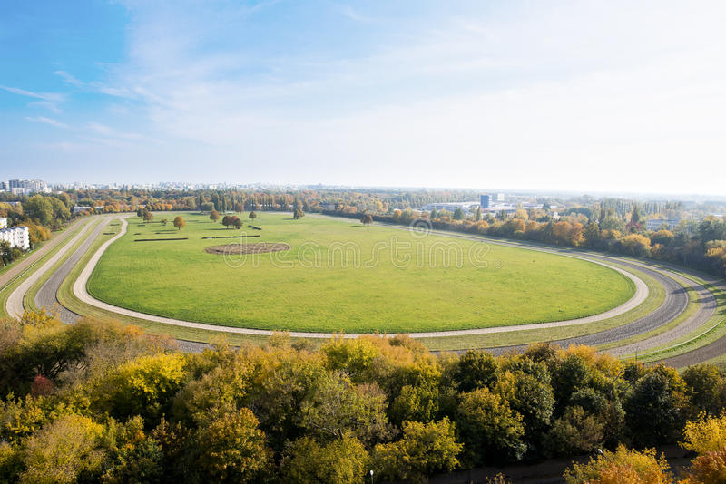 Horse racecourse. View from the top of the racecourse in Warsaw stock photography
