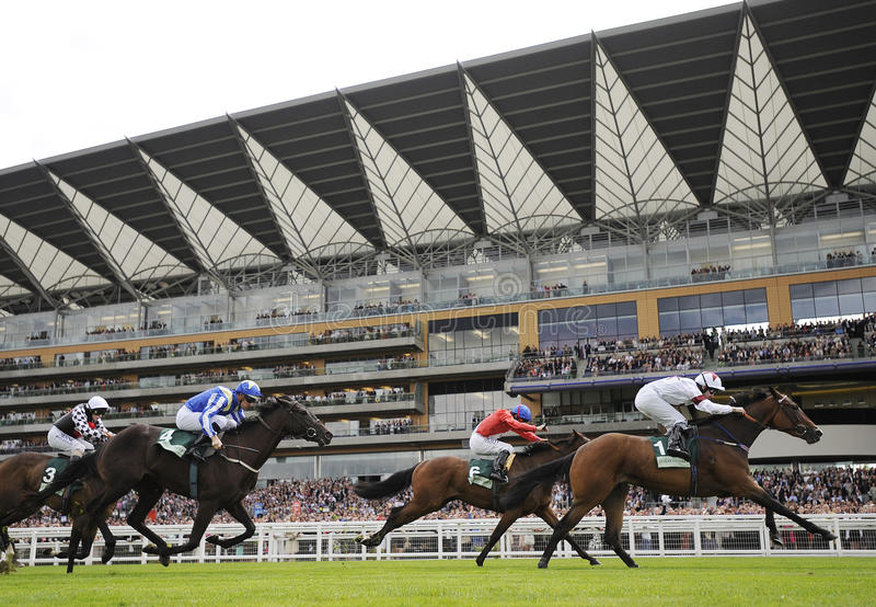 Horse Racing. At Royal Ascot,England angels will fall 1st (white-morune) regal realm 2nd (red-blue) miss lahar 3rd (blue-yellow stock images