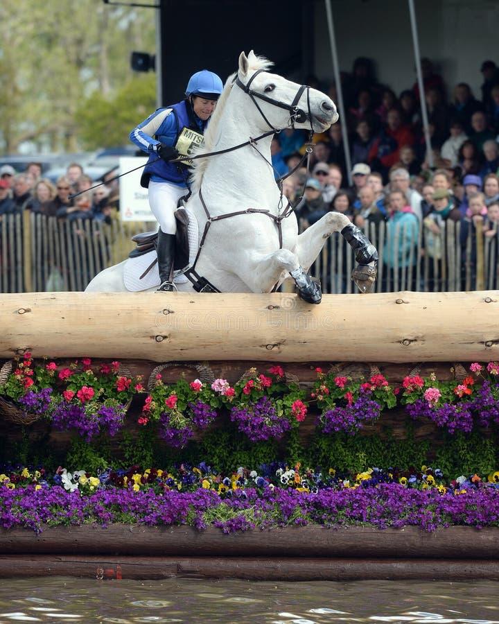 Horse Racing. Carolyn Ryan-Bell and Rathmoyle KIng refuse the water, Mitsubishi Motors Badminton Horse Trials 10-5-2014 royalty free stock photos