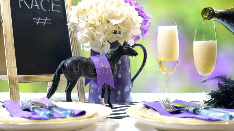 Horse racing Racing Day Luncheon table setting stock photo