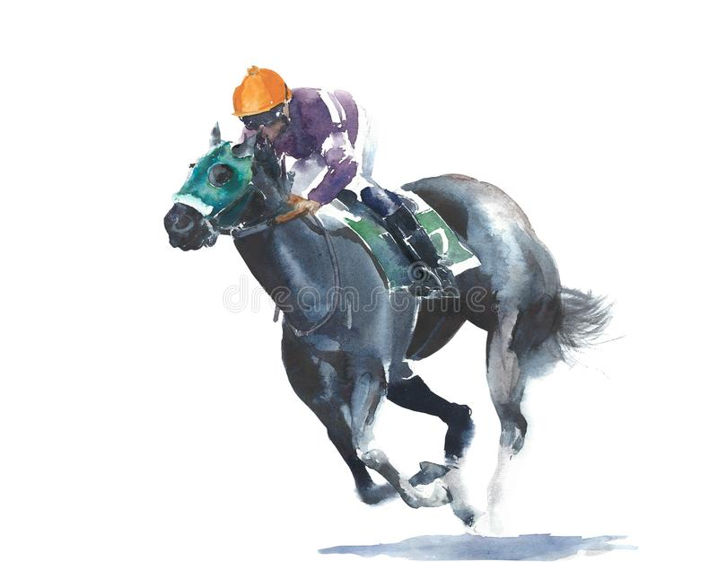 Horse racing jockey competition black horse watercolor painting illustration isolated on white background vector illustration