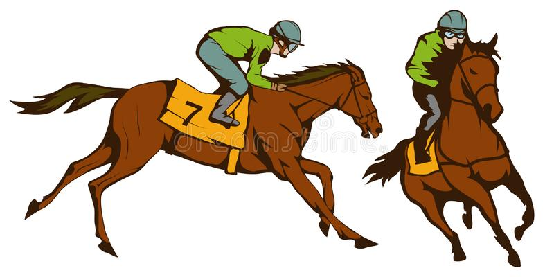 Horse racing. Jockey on racing horse running to the finish line. Race course. Vector graphics to design stock illustration
