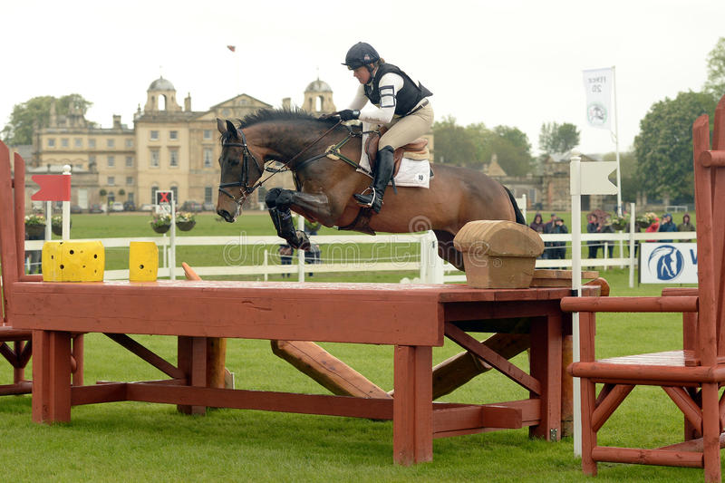 Horse Racing. Pippa Funnell and Billy Beware, 6th in the Mitsubishi Motors Badminton Horse Trials 10-5-2014 royalty free stock photos
