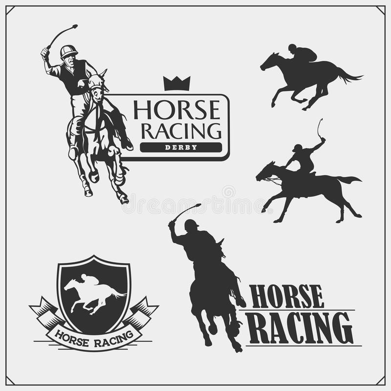 Horse racing and polo club emblems, labels, badges and design elements. Print design for t-shirt. stock illustration