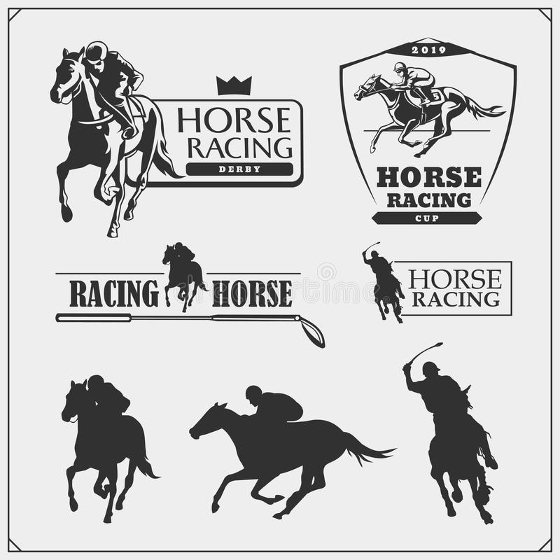 Horse racing and polo club emblems, labels, badges and design elements. Print design for t-shirt. vector illustration