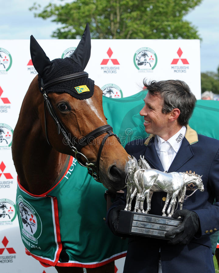 Horse Racing. Sam Griffiths and Paulank Brockagh win the Mitsubishi Motors Badminton Horse Trials Trophy, 11-5-2014 stock images