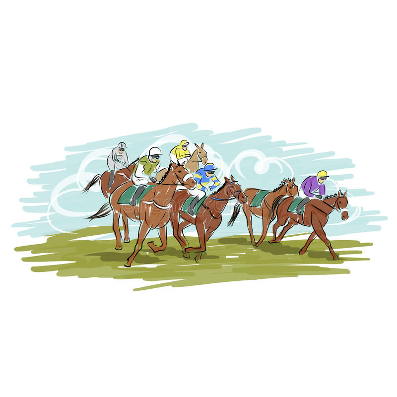 Horse Racing, Sketch For Your Design Stock Photography