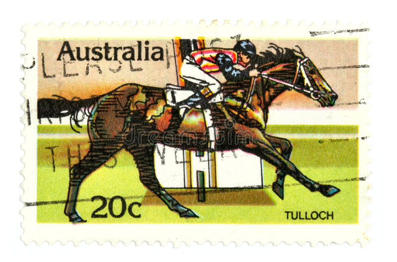 Horse racing stamp royalty free stock photos