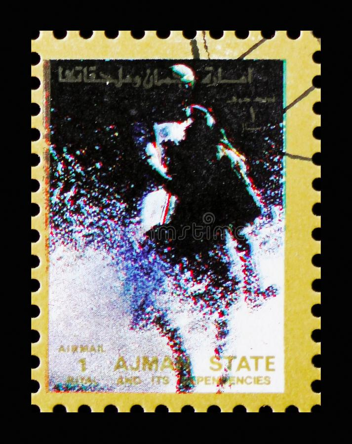 Horse racing, Summer Olympics serie, circa 1973. MOSCOW, RUSSIA - NOVEMBER 10, 2018: A stamp printed in Ajman shows Horse racing, Summer Olympics serie, circa royalty free stock images