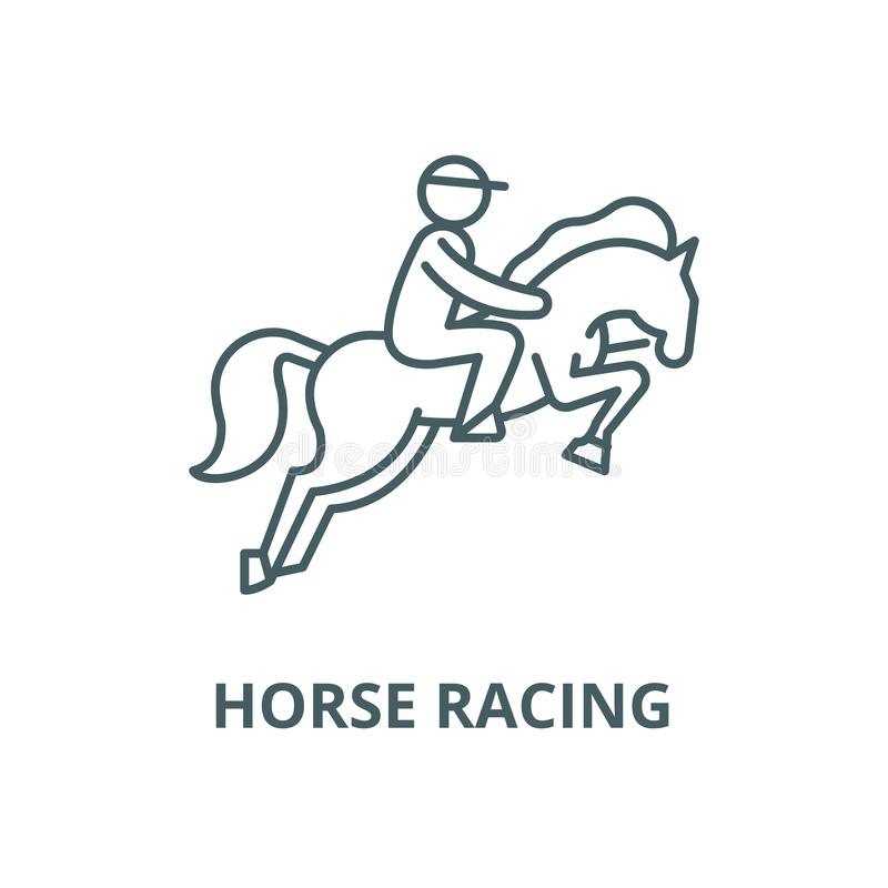 Horse racing vector line icon, linear concept, outline sign, symbol vector illustration