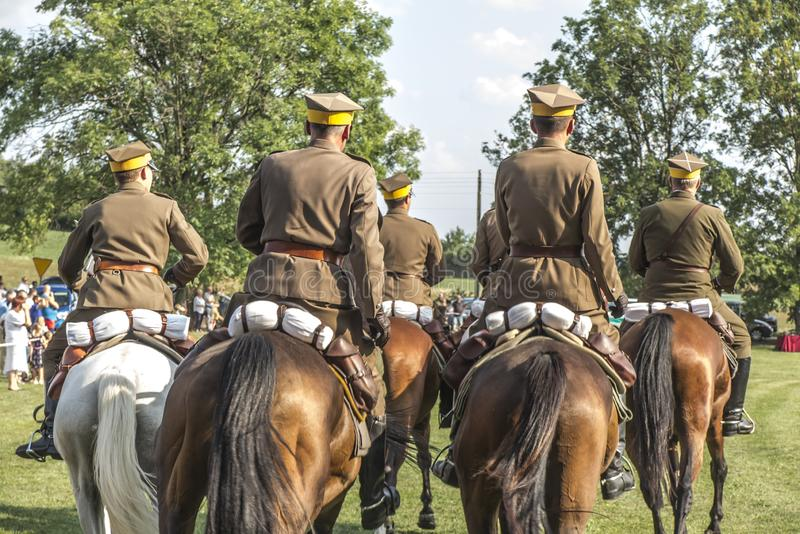 Horse Rally along the Battle Trail of the 3rd Silesian Uhlans Regiment. Presentation of lancers in Wozniki, Poland royalty free stock image