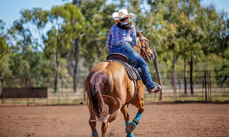 Horse And Rider Competing In Barrel Race At Outback Country Rodeo. Female equestrian competing in barrel racing in dusty arena at outback country rodeo royalty free stock image
