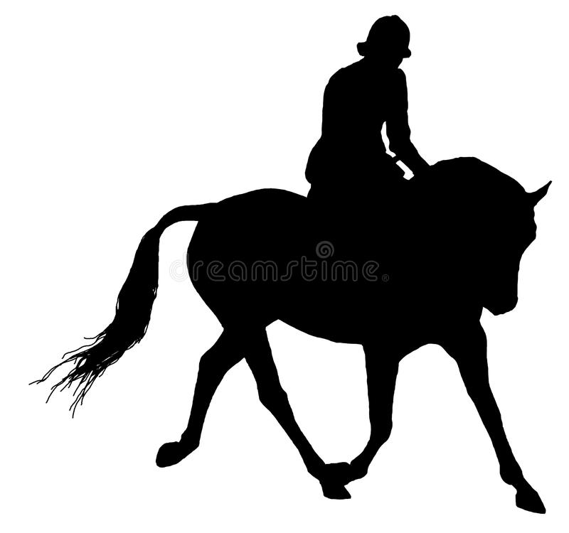 Horse And Rider Silhouette Isolated royalty free stock photos