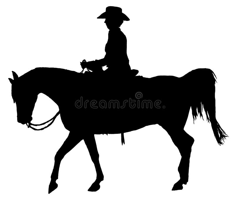 Western Horse And Rider Silhouette Isolated stock images