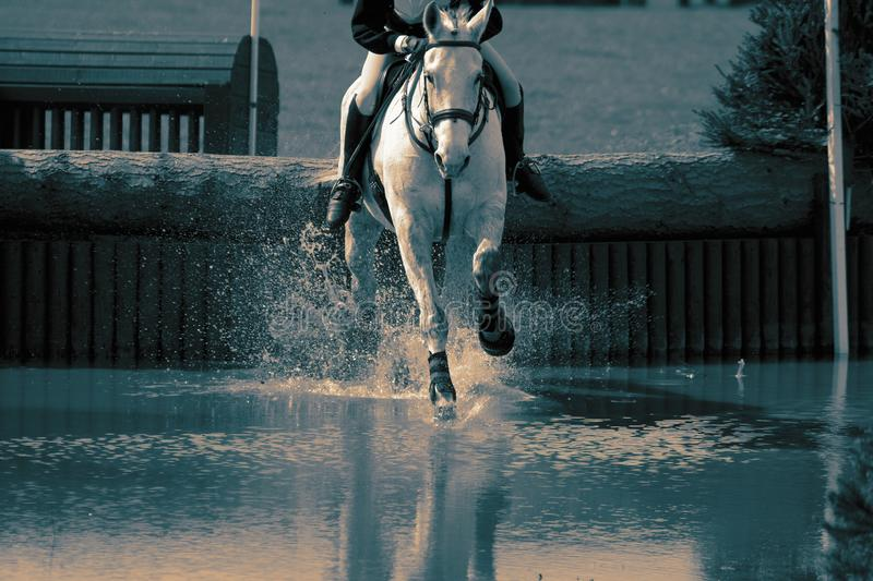 Horse and rider at a water jump competing, in the cross country stage, at an equestrian three day event. With colour toning royalty free stock photo