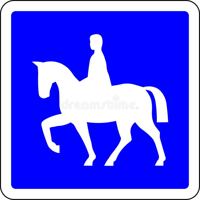Horse riders allowed road sign. Horse riders allowed blue road sign royalty free illustration