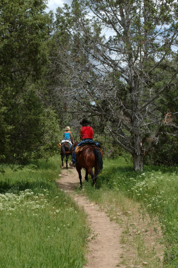 Horse riders on the mountain trail royalty free stock photos
