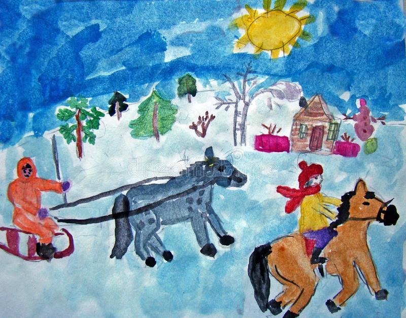Horse riders in winter painted by child. Watercolor painting of horse riders having fun in winter. Made by child royalty free illustration