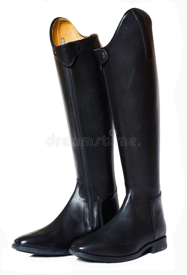 Horse riding dressage boots isolated on white. Studio stock photos