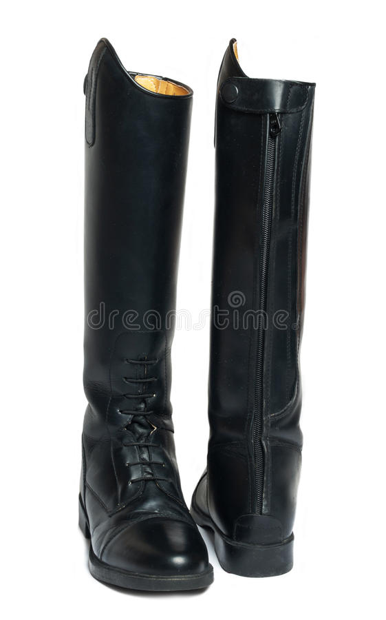 Horse riding dressage boots over white. Background royalty free stock images