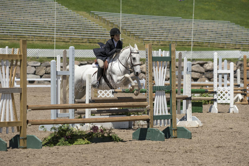 Horse riding girl child show jumping royalty free stock photography