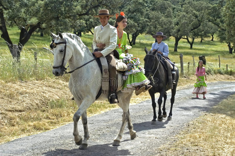 Horse riding, rural landscape, traditional costume stock images