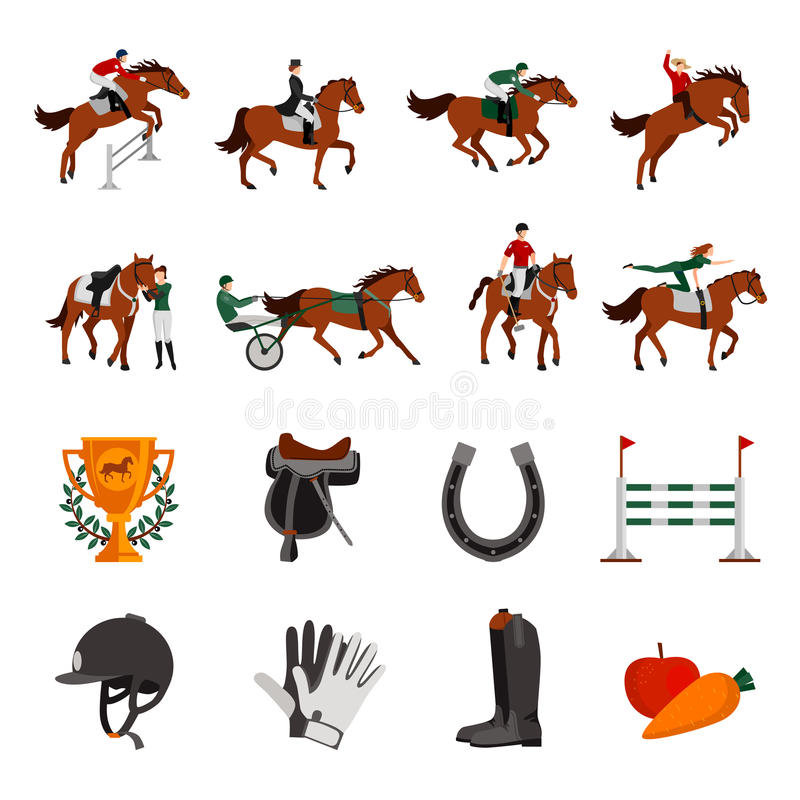Horse Rising Sport Icons stock illustration
