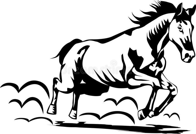Horse running. Black and white carved style illustration of a running horse vector illustration