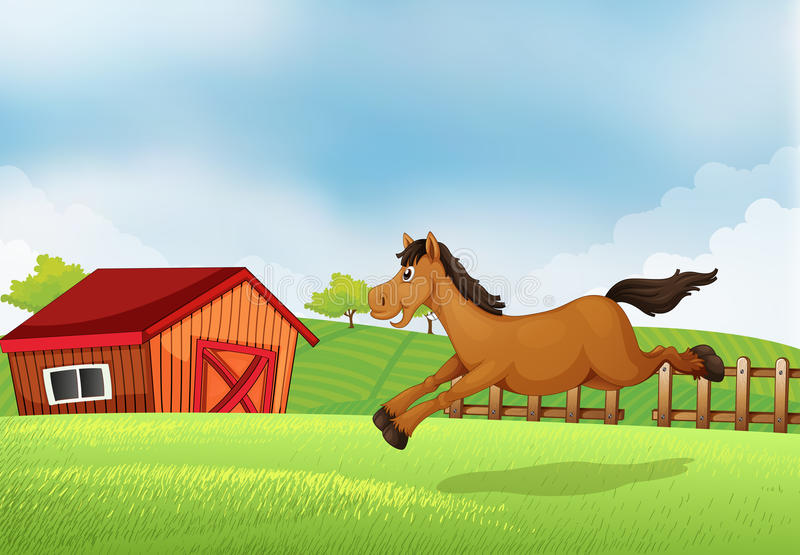 A horse running in the field. Illustration of a horse running in the field royalty free illustration