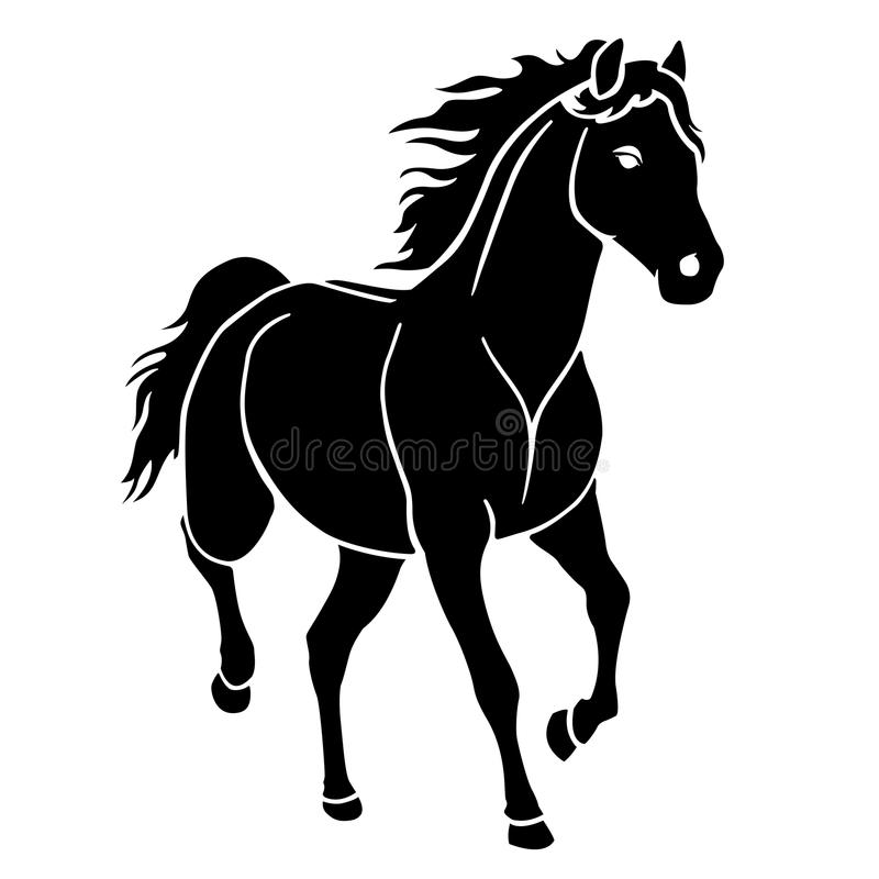 Horse running silhouette black royalty free stock image