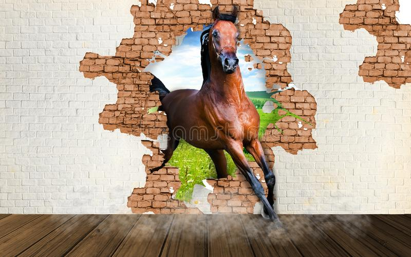 The horse runs out of the wall. 3D Rendering. royalty free illustration