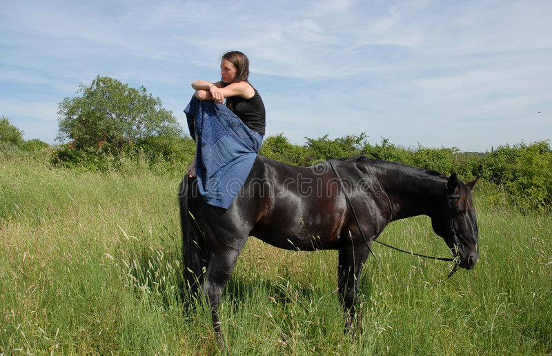 Download Horse and sad teen stock image. Image of bridle, down - 2546647