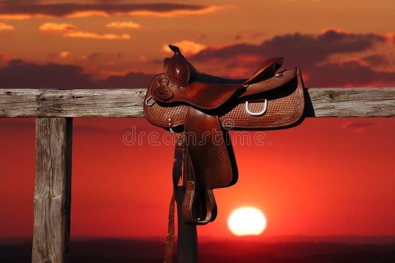 Download Horse saddle stock photo. Image of sunset, fence, leather - 15990038