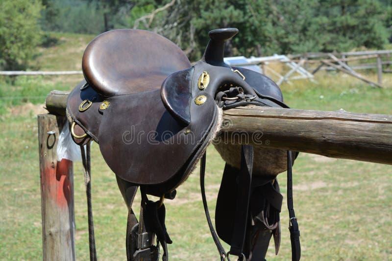 Horse saddle ready to be taken stock photos