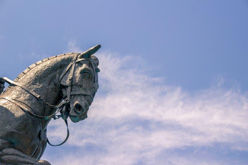 Horse sculpture in Macroplaza Monterrey Mexico. MONTERREY, NUEVO LEON/MEXICO - 2017: Photograph of a horse sculpture in Macroplaza stock images