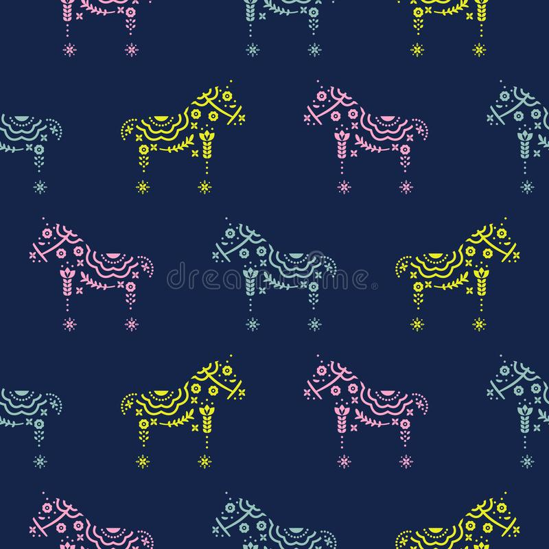 Horse seamless pattern with floral decorative silhouette texture blue background. stock illustration