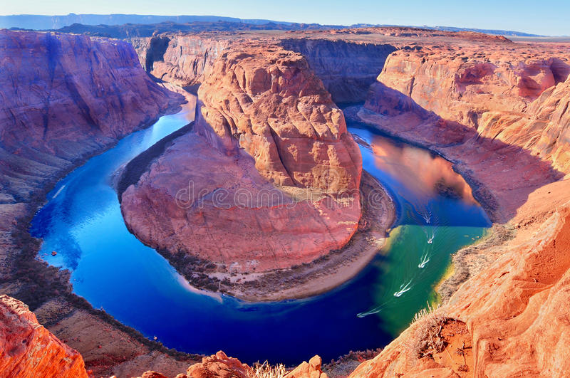 Horse Shoe Bend, Colorado River in Page, Arizona USA. Majestic view of Horse Shoe Bend, Colorado River in Page, Arizona USA stock images