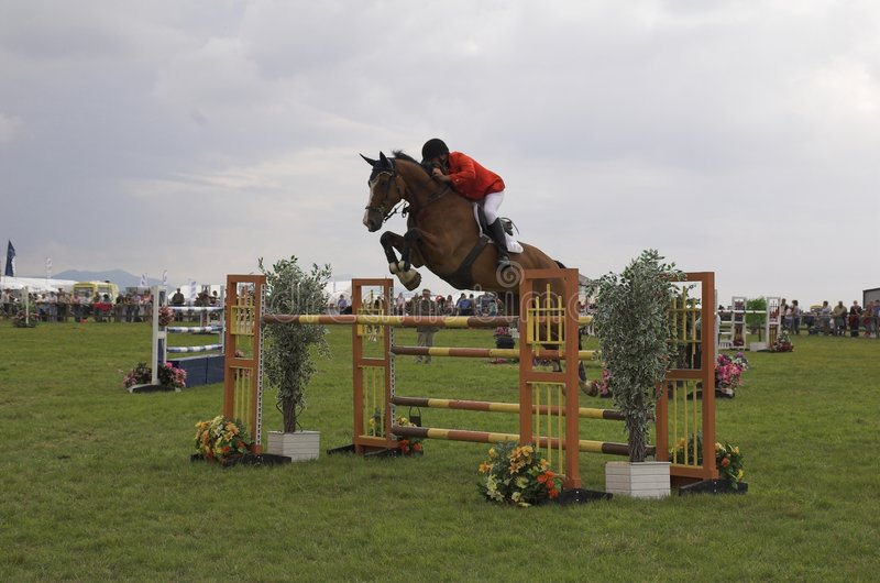 Horse show jumping. Event stock photos