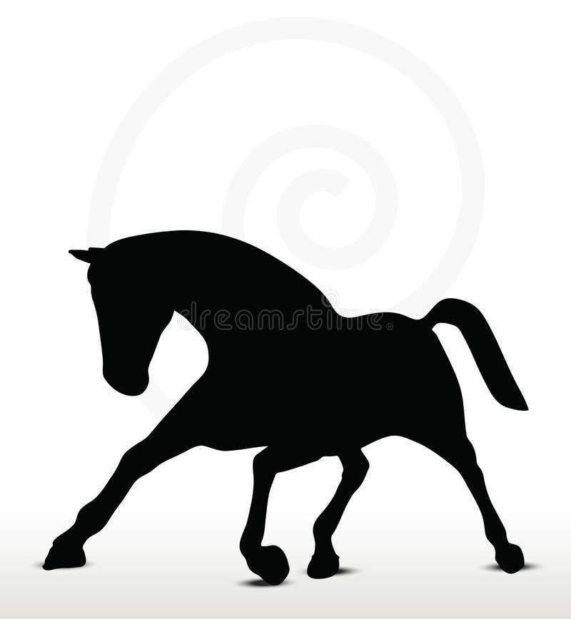 Horse silhouette. In running position stock illustration