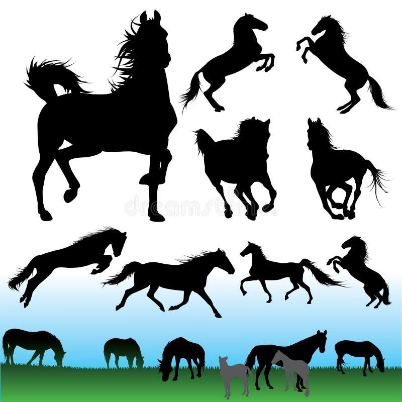 Horse silhouettes set royalty free illustration