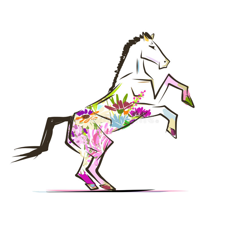Horse sketch with floral decoration for your