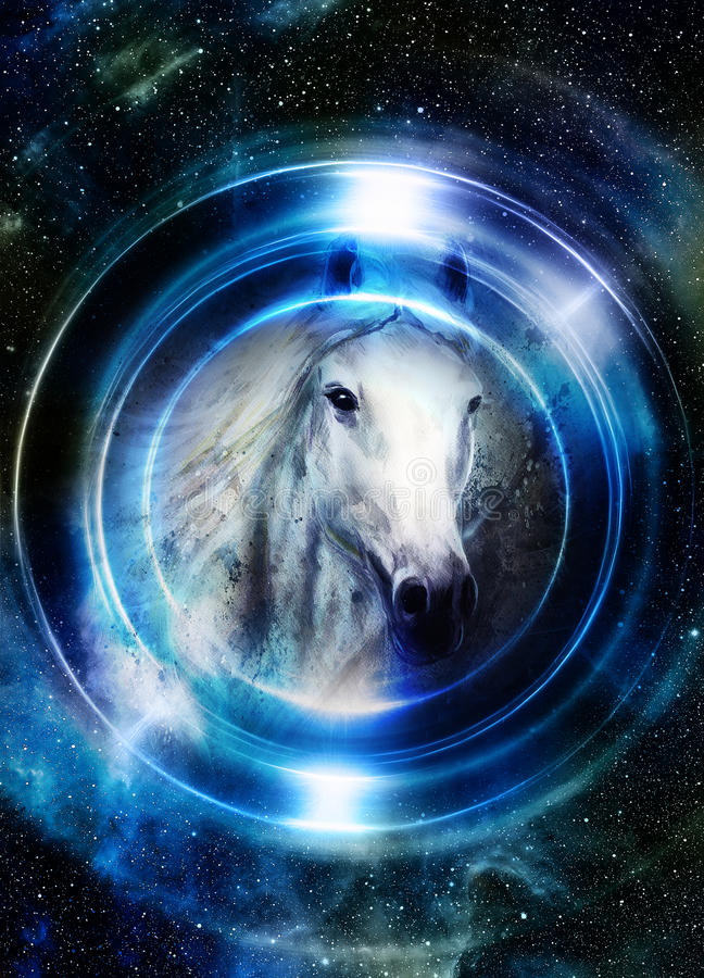 Horse in space, in circle light. Mirror on the planet Earth. Animal concept, Winter effect and blue color. Horse in space, in circle light. Mirror on the planet royalty free illustration