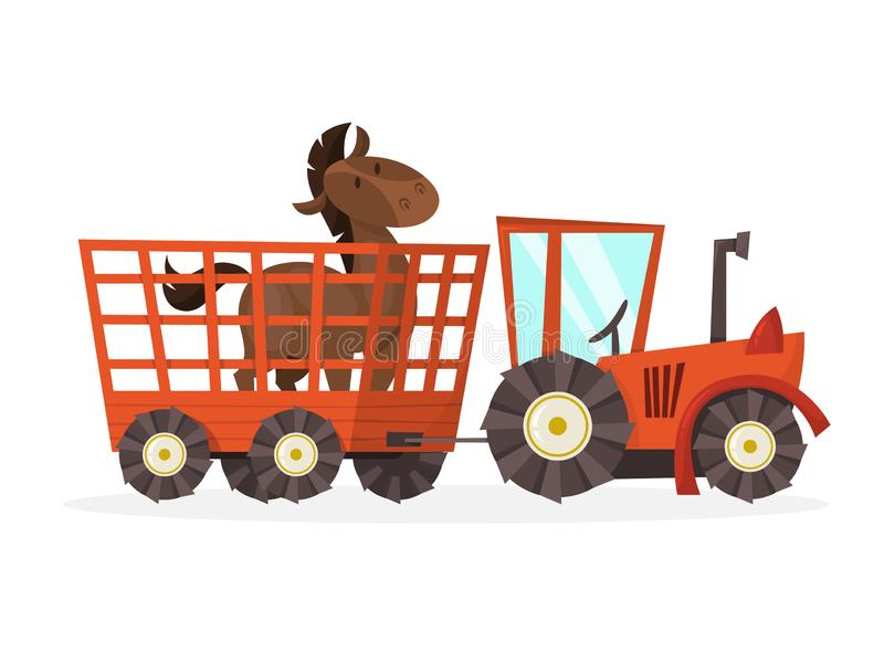 Horse standing in the cage in a tractor. Farm. Horse standing in the cage in a red tractor. Farm animal. Carrying animal behind the fence. Isolated vector royalty free illustration